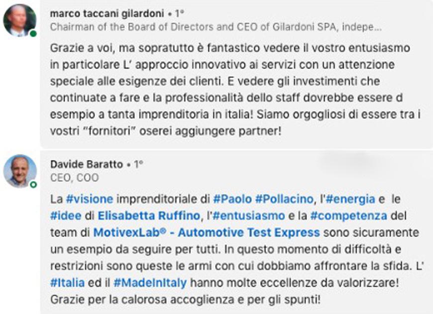 Le testimonianze di Marco Gilardoni e Davide Baratto