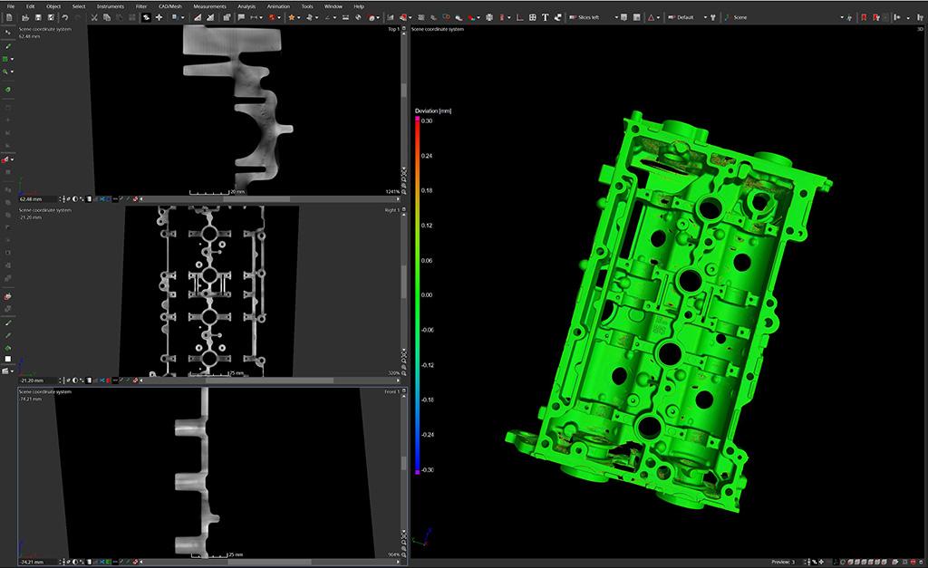 Confronto tra dimensione reale e nominale durante l'analisi dimensionale eseguita con la Tomografia Industriale Computerizzata